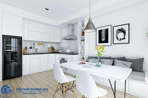 Bố trí nội thất khoa học cũng là cách trang trí phòng bếp nhỏ nên lưu tâm