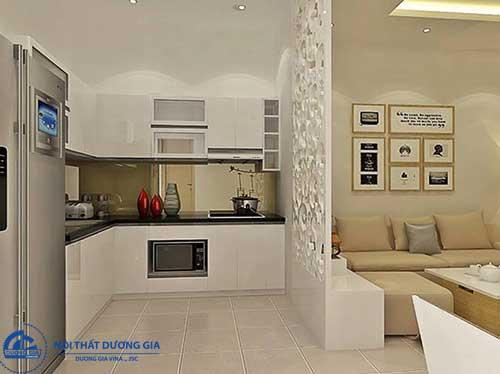 Cách trang trí vách ngăn phòng khách và phòng bếp