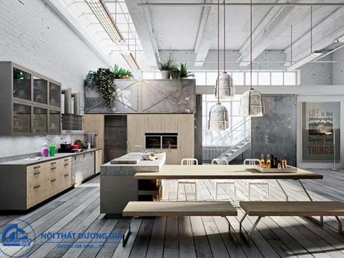 Phong cách công nghiệp tạo nên không gian bếp đẹp độc đáo