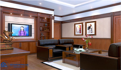 Thiết kế nội thất phòng Giám đốc nhỏ với đồ dùng đơn giản