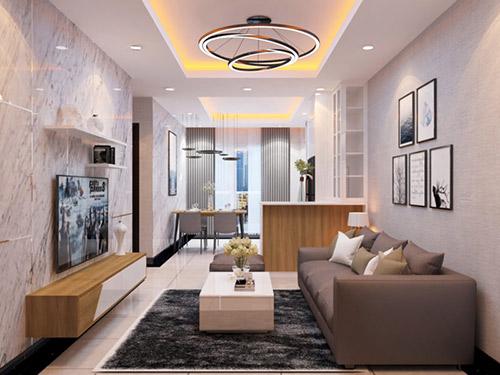 Công ty thiết kế nội thất phòng khách chung cư đơn giản uy tín nhất