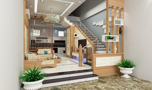 Nội thất phòng khách gỗ công nghiệp: Vách ngăn